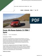 Ensaio Alfa Romeo Giulietta
