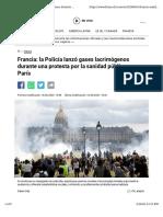 Policía lanza gases lacrimógenos durante protesta en París