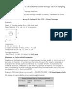 Press Tool Calculation