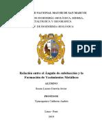 ANGULO DE SUBDUCCIÓN ASOCIADO A YACIMIENTO METALICOS