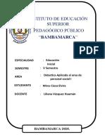 DIDACTICA APLICADA AL AREA DE PERSONAL SOCIAL I