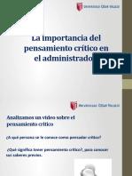 La importancia del pensamiento crítico en el administrador