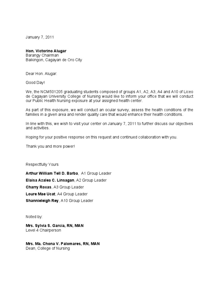 Courtesy call letters 1 nursing public health spiritdancerdesigns Gallery