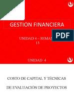 Unidad 4 -  Costo de capital y técnicas de evaluación de proyectos - semana 13