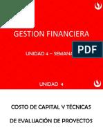 Unidad 4 - Costo de capital y técnicas de evaluación de proyectos - semana 14