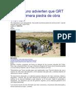 Desde Puno advierten que GRT colocó primera piedra de obra Vilavilani