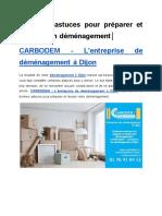 Quelques Astuces Pour Préparer Et Réussir Son Déménagement│ CARBODEM – L'entreprise De Déménagement À Dijon