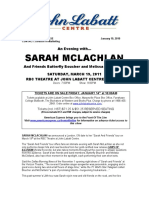 Sarah Mclachlan Announced to Play RBC Theatre at the John Labatt Centre - March 19th, 2010