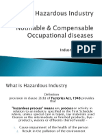 Hazardous industries notifiable and compensable diseases