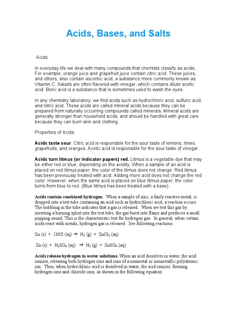 Acids Bases Salts 1 PDF | Ph | Acid