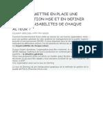COMMENT METTRE EN PLACE UNE ORGANISATION HSE ET EN DEFINIR LES RESPONSABILITES DE CHAQUE ACTEUR