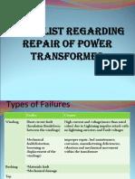 Checklist xmer repair