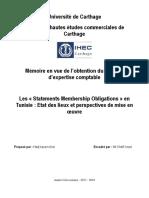 Les « Statements Membership Obligations » en Tunisie