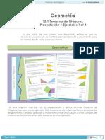 Geometría. Teorema De Pitágoras. Presentación y Ejercicios 1 al 4