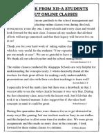 XII A students feedback