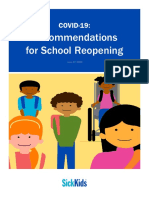 COVID19 Recommendations for School Reopening