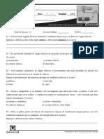 PROVA DE CIÊNCIA 1 - 8° ANO - AB2
