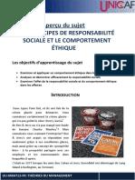 Les principes de responsabilités sociales et le comportement éthique