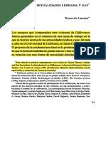 DE LAURETIS. Teoria Queer- sexualidades lesbiana y gay(2010)