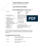 ACTA DE ENTREGA DE TERRENO- MODELO
