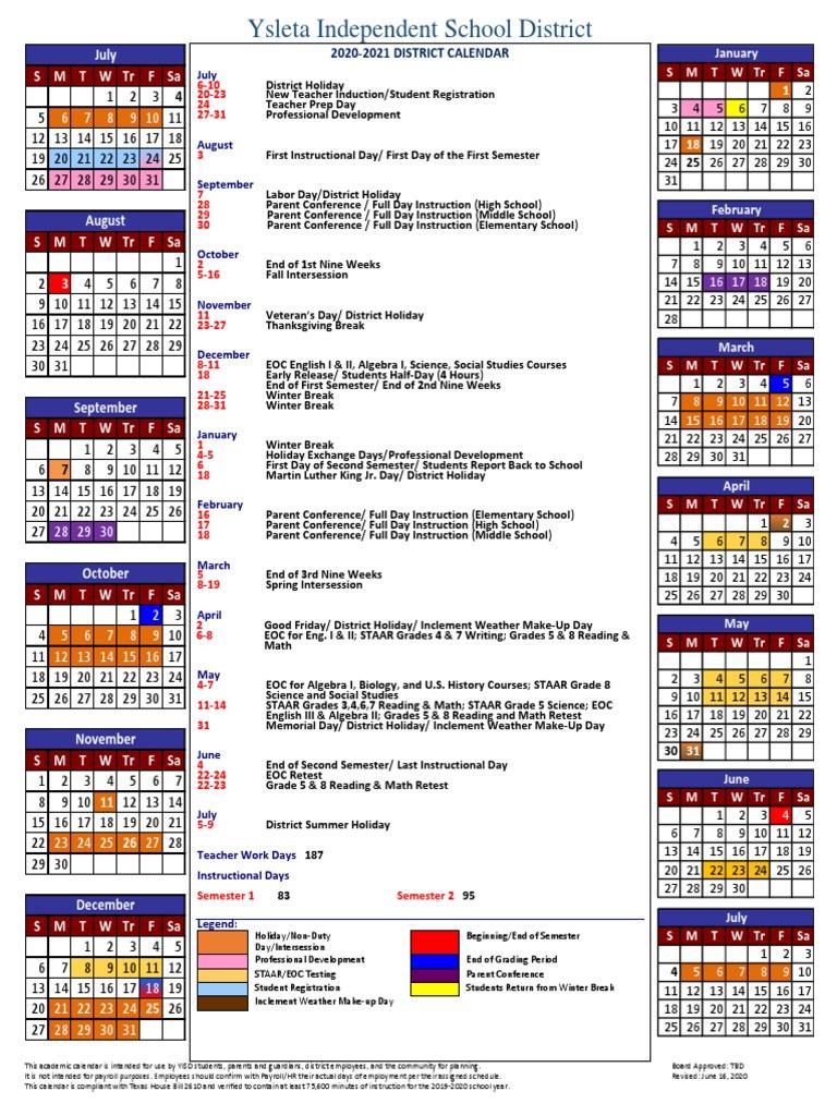 Episd Calendar 2022.2020 21 Calendar A Rev 6 16 20 Academic Term Schools