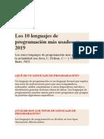 Los 10 lenguajes de programación más usados en 2019
