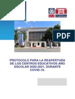 PROTOCOLO PARA LA REAPERTURA DE LOS CENTROS EDUCATIVOS AÑO ESCOLAR 2020