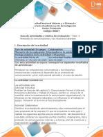 Guia de actividades y Rúbrica de evaluación Paso 2 Protocolo de comicaciones y relaciones laborales