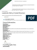 cassiterite (SnO2) Crystal Structure - SpringerMaterials