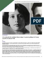 À la recherche du socialisme démocratique. La pensée politique de George Orwell et de Simone Weil _ Revue Esprit