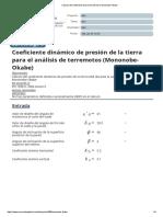 Cálculo del coeficiente de presión de tierra Mononobe-Okabe