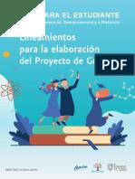 GUIA PARA EL ESTUDIANTE Lineamientos Para La Elaboración Del Proyecto de Grado