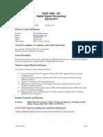 UT Dallas Syllabus for eesc6360.501.11s taught by P Rajasekaran (pkr021000)
