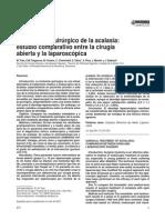 Acalasia Estudio Comparativo Cx Ab y Laparos Zazil
