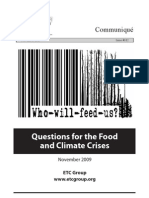 Who Will Feed Us. Questions for the Food and Climate Crises