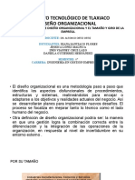 2.7 RELACION ENTRE DISEÑO ORGANIZACIONAL Y EL TAMAÑO Y GIRO DE LA EMPRESA