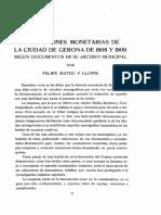 LAS EMISIONES MONETARIAS DE LA CIUDAD DE GERONA DE 1808 Y 1809