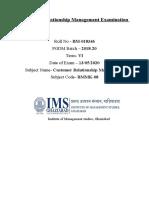 Customer relationship Management Examination (BM-018346) Term - VI
