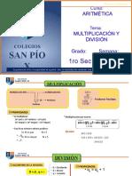 CLASE VIRTUAL ARITMÉTICA MULTIPLICACIÓN Y DIVISIÓN - 1RO SEC