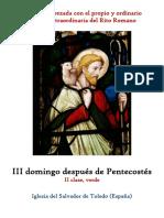 III Domingo Despues de Pentecostes. Propio y Ordinario de la santa misa