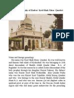 The brief  biography of Hadrat Syed Shah Musa Quaderi Hyderabad