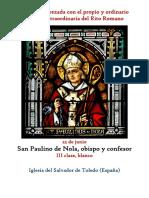 22 de Junio. San Paulino de Nola, obispo y confesor. Propio y Ordinario de la santa misa