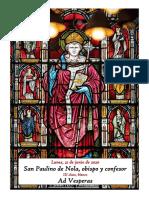 Lunes, 22 de Junio de 2020. San Paulino de Nola, obispo y confesor. Vísperas gregorianas