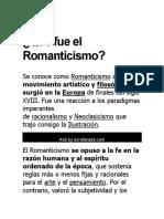 Qué fue el Romanticismo