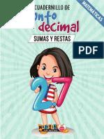 Cuadernillo de operaciones matemáticas con punto decimal