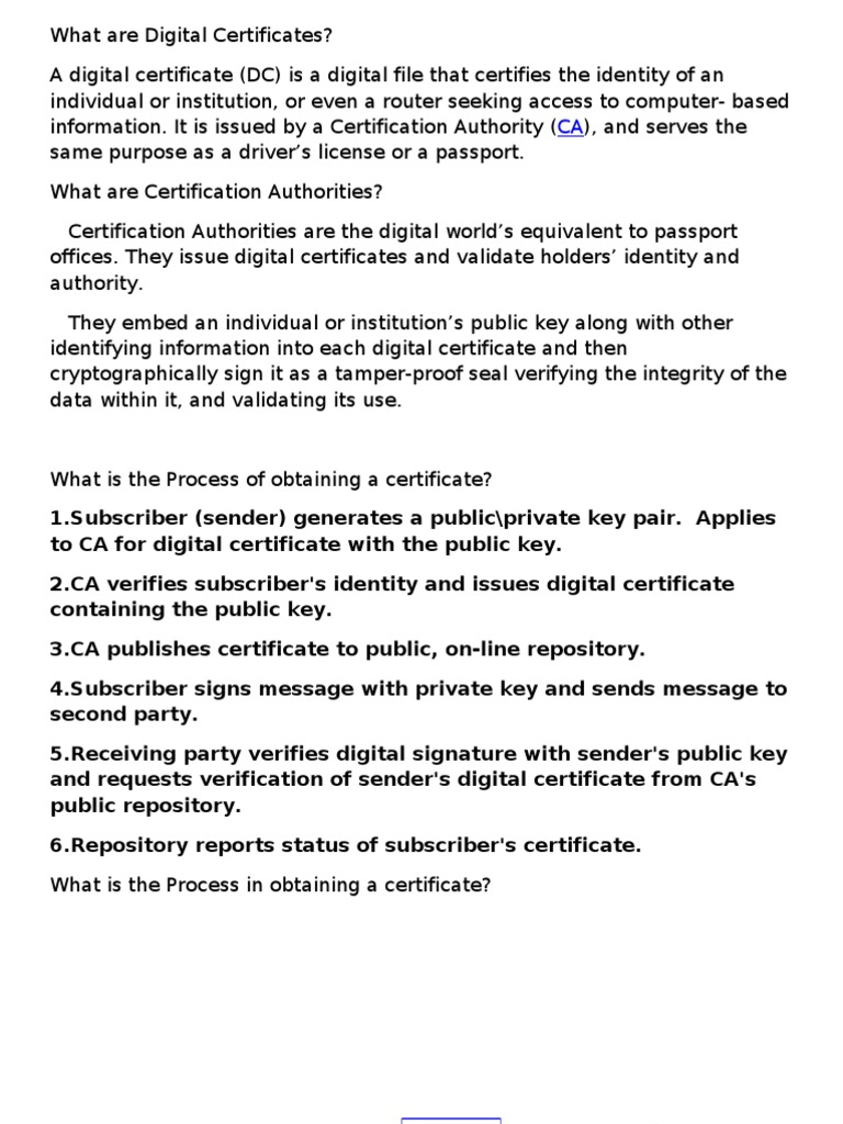 Digital Certificate Public Key Cryptography Public Key Certificate