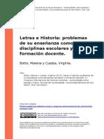 Botto, Malena y Cuesta, Virginia (2019). Letras e Historia problemas de su ensenanza como disciplinas escolares y formacion docente