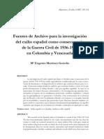 Fuentes de archivo para la investigación del exilio español como consecuencia de la guerra civil de 1936-1939 en Colombia y Venezuela - Maria Eugenia Martinez Gorroño