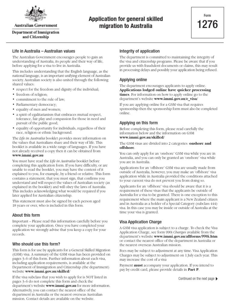 1276 application form for general skilled migration travel 1276 application form for general skilled migration travel visa passport falaconquin