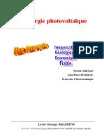 Etude didactique dimensionnement installation photovoltaïque